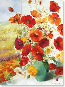 Blank Card - Pretty Poppies | Fabrice de Villeneuve Studio | 10975 | Leanin' Tree
