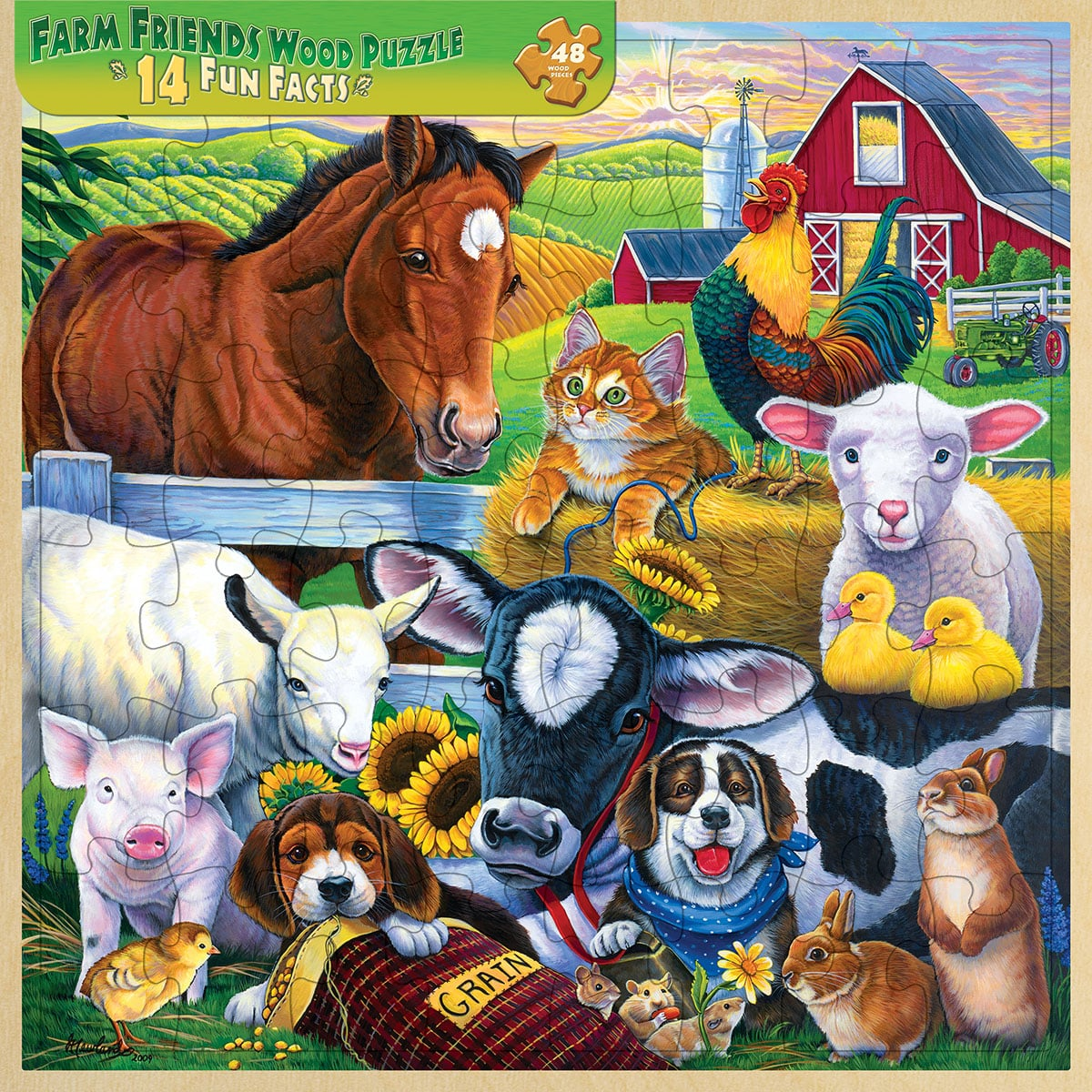Puzzle - Farm Friends with Wood Tray Storage - 110184 | Leanin' Tree