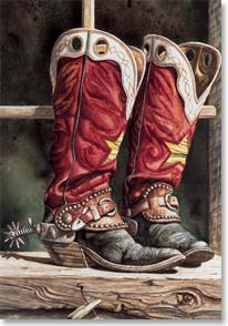 Birthday Card - Western | Well Worn Red Cowboy Boots | Lisa Danielle | 12685 | Leanin' Tree