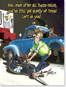 Birthday Card - You've got plenty of tread and a spare in the trunk! - 13503 | Leanin' Tree