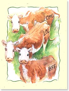 Birthday Card - Texting Cows - 13818 | Leanin' Tree