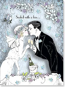 Wedding Card - Sealed with a kiss...for a life filled with bliss! | Kathleen Francour | 15668 | Leanin' Tree