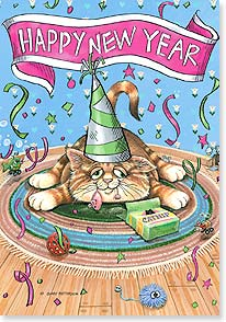 New Year's Day Card - Wishing you 9 lives of celebrating! | Gary Patterson | 16858 | Leanin' Tree