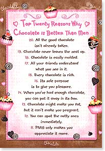 Birthday Card - Twenty reasons why chocolate is better! | Barbara Ann Kenney | 16983 | Leanin' Tree