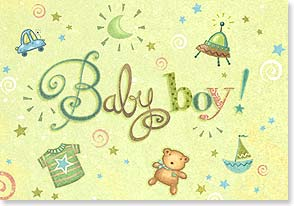 Baby Congrats - Boy - Does he have your heart? Definitely! Congratulations | Viv Eisner | 18330 | Leanin' Tree