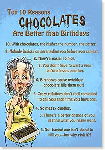 Birthday Card - Top Ten Reasons Chocolates Are Better - 18675 | Leanin' Tree