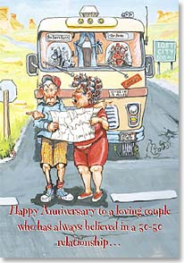 Anniversary Card - Loving Couple in 50-50 Relationship | Boots Reynolds | 19650 | Leanin' Tree