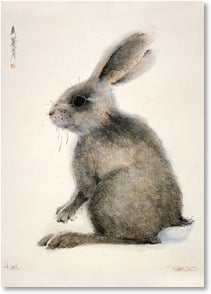 Blank Card - Hare with Asian characters | Frank T. Gee | 1_2000670-P | Leanin' Tree