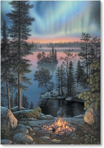 Blank Card - Northern Lights & Campfire by Lake | Kim Norlien | 1_2001437-P | Leanin' Tree