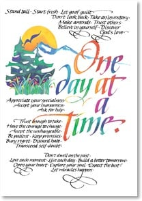 Blank Card with Quote / Saying - One Day At A Time! | Louise Grunewald | 1_2002497-P | Leanin' Tree