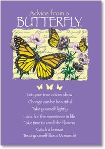 Blank Card with Quote / Saying - Advice from a Butterfly Inspiration | Your True Nature® | 1_2002641-P | Leanin' Tree