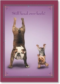 Love & Romance Card - Head over heels! We're hands down the best for each other! | Yoga Dogs®/Yoga Cats | 1_2003365-P | Leanin' Tree