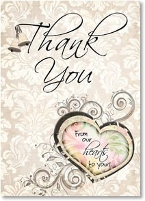 Thank You Card - Wedding Gift - Your Hearts Thank You | Connie Haley | 2000338-P | Leanin' Tree