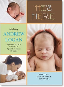 Baby Announcement - He's Here | LT Studio | 2000475-P | Leanin' Tree