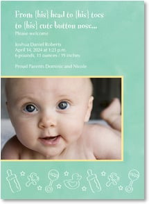 Baby Announcement - From head to toes to cute button nose... | LT Studio | 2000477-P | Leanin' Tree
