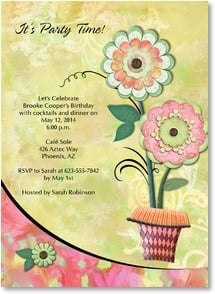 Birthday Invitation - Sweet Flowers Party Invitation | Connie Haley | 2000953-P | Leanin' Tree