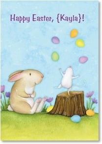 Easter Card - Easter Juggling Act | Beth Logan | 2001030-P | Leanin' Tree