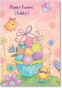 Easter Card - A Basket Full of Springtime Fun | Viv Eisner | 2001041-P | Leanin' Tree