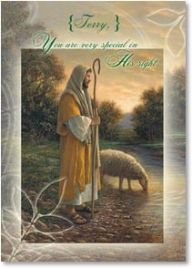 Birthday Card {Name} - May you feel Him  watching over you; Psalm 23:1-2, 6 | Jon McNaughton | 2001057-P | Leanin' Tree