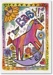 Baby Congratulations Card - So little so sweet so fresh and new. | Laurel Burch™ | 2001147-P | Leanin' Tree