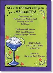 Party/Event Invitation - Who needs THERAPY when you've got a MARGARITA! | Lori Wiseman | 2001202-P | Leanin' Tree