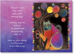 Birthday Invitation - Colorful Cat | Laurel Burch® | 2001208-P | Leanin' Tree