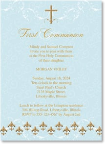 First Communion Invitation - Fleur de Lis Elegance | LT Studio | 2001211-P | Leanin' Tree