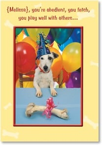 Birthday Card from Pet - Good Girl/Boy - From the Dog! | SuperStock, Inc. | 2001348-P | Leanin' Tree