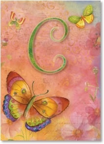 Blank Card - Butterfly Monogram - C | Sue Zipkin | 2001826-P | Leanin' Tree