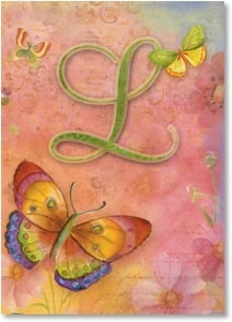 Blank Card - Butterfly Monogram - L | Sue Zipkin | 2001834-P | Leanin' Tree