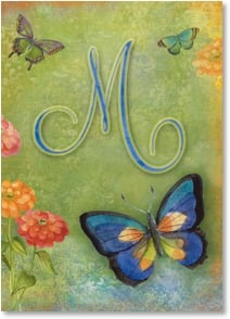 Blank Card - Butterfly Monogram - M | Sue Zipkin | 2001835-P | Leanin' Tree