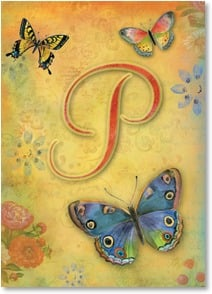 Blank Card - Butterfly Monogram - P | Sue Zipkin | 2001837-P | Leanin' Tree