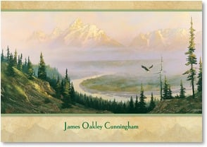 Personalized Stationery Card - Majestic Mountain Morning | Hermon Adams | 2001870-P | Leanin' Tree