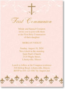 First Communion Invitation - Pink Fleur de Lis | LT Studio | 2001882-P | Leanin' Tree