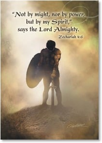 Military / Troop Support Card - The battle is real. Stand Firm; Zechariah 4:6 | Danny Hahlbohm | 2002225-P | Leanin' Tree