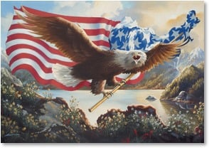 Birthday Card - GOD BLESS AMERICA AND GOD BLESS YOU! | D. L. Rust | 2002233-P | Leanin' Tree