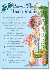 Please Write Card - Top Ten Reasons Why I Haven't Written...Now it's your turn! | Boots Reynolds | 2002299-P | Leanin' Tree