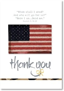 Thank You Card - For Military Service - Here I am...Send me.  Isaiah 6:8 - 2002450-P | Leanin' Tree