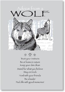 Birthday Card - Advice from a Wolf - Have a wild time! | Your True Nature® | 2002652-P | Leanin' Tree