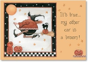 Halloween Card - It's true... my other car is a broom! | Sandi Gore Evans | 2002841-P | Leanin' Tree
