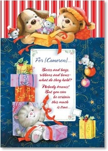 Christmas Card - Boxes, bags, ribbons & bows-what do they hold? Nobody knows | Interlitho Licensing | 2002888-P | Leanin' Tree