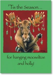 Holiday Card - 'Tis the Season for Mooseltoe & Holly! | Will Bullas | 2002908-P | Leanin' Tree