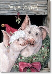 Christmas Card - Christmas Hogs and Kisses! | Joy Campbell | 2002918-P | Leanin' Tree