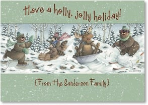 Holiday Card {Name} - A Holly Jolly Holiday to Warm your Heart | Jeffrey Severn | 2002966-P | Leanin' Tree