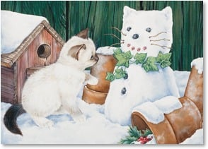 Christmas Card - A Paws-itively Great Christmas! | Nancy Wood Taber | 2003087-P | Leanin' Tree