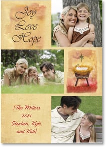 Christmas Card - Joy, Love & Hope | Jane Kitching | 2003101-P | Leanin' Tree