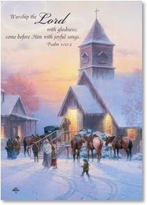Christmas Card - The Precious Gift of Faith; Psalm 100:2 - 2003106-P | Leanin' Tree