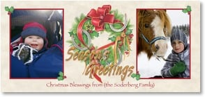 Christmas Card - Horseshoe Wreath - Christmas Blessings | Nancy Kaestner | 2003115-P | Leanin' Tree