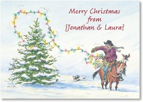 Christmas Card - Ropin' a Blessed Good Time; Numbers 6:24 - 2003129-P | Leanin' Tree