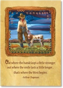 Anytime Wish for You Card - Where the West Begins; Psalm 92:5 | Nancy Dunlop Cawdrey | 2003224-P | Leanin' Tree